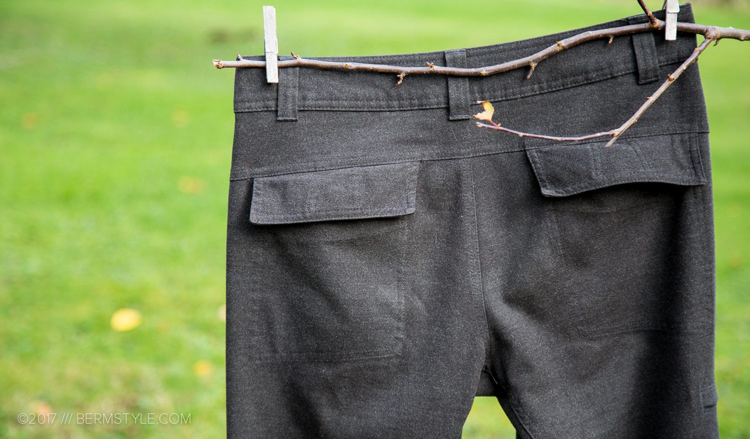Rear flapper welt pockets on the Townsend Pants