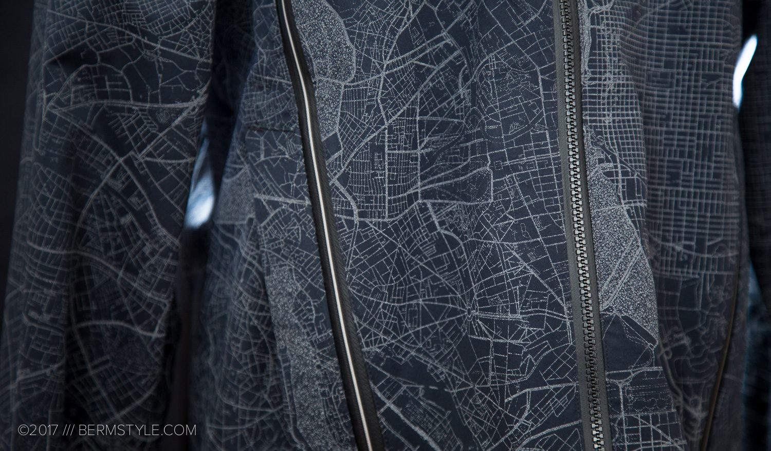 Detail of the front zipper vents of the Shower Pass Atlas Jacket