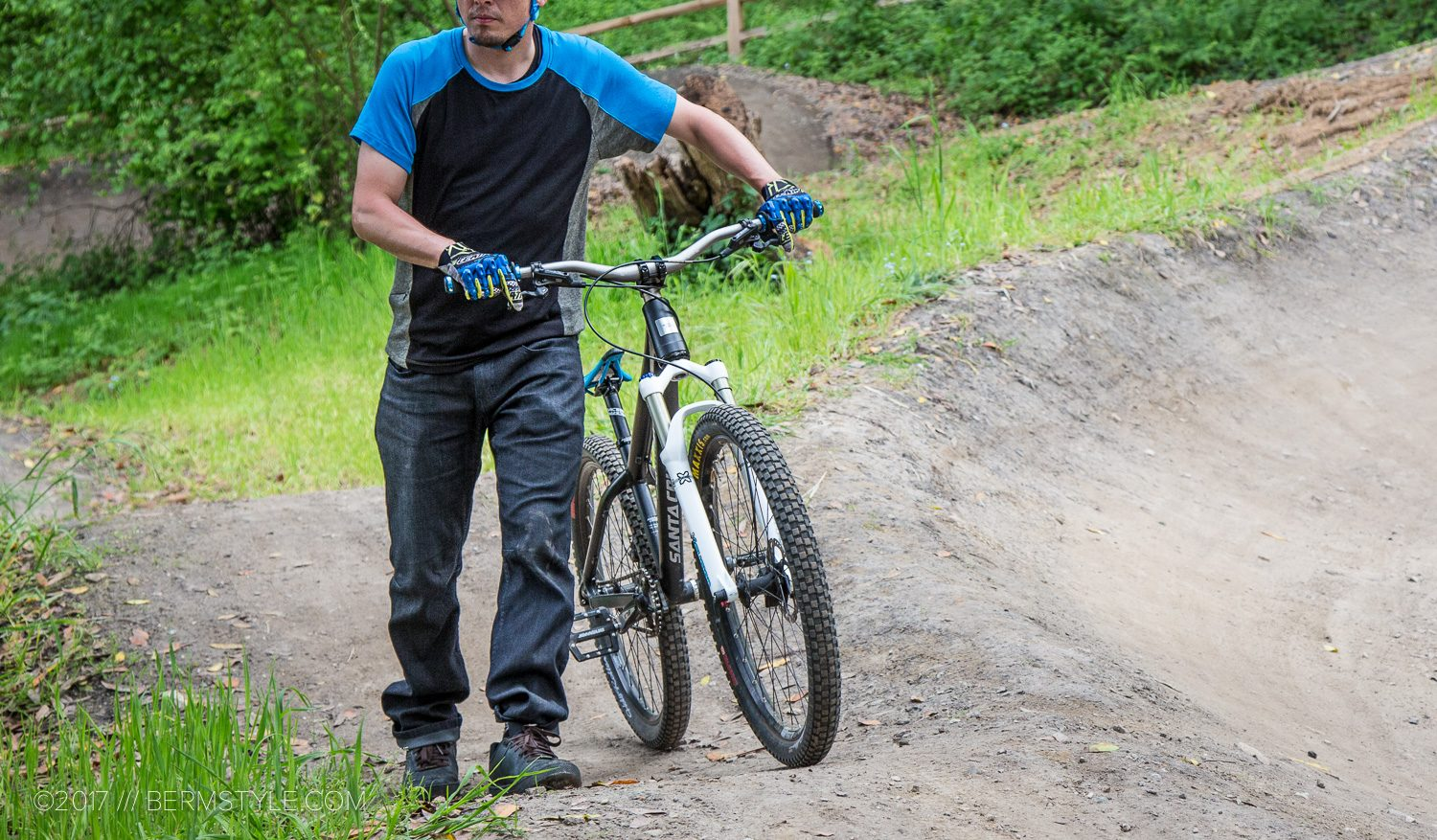 Getting the ClubRide Cog Jeans dirty at the Harvey West Park Pump Track in Santa Cruz, California.