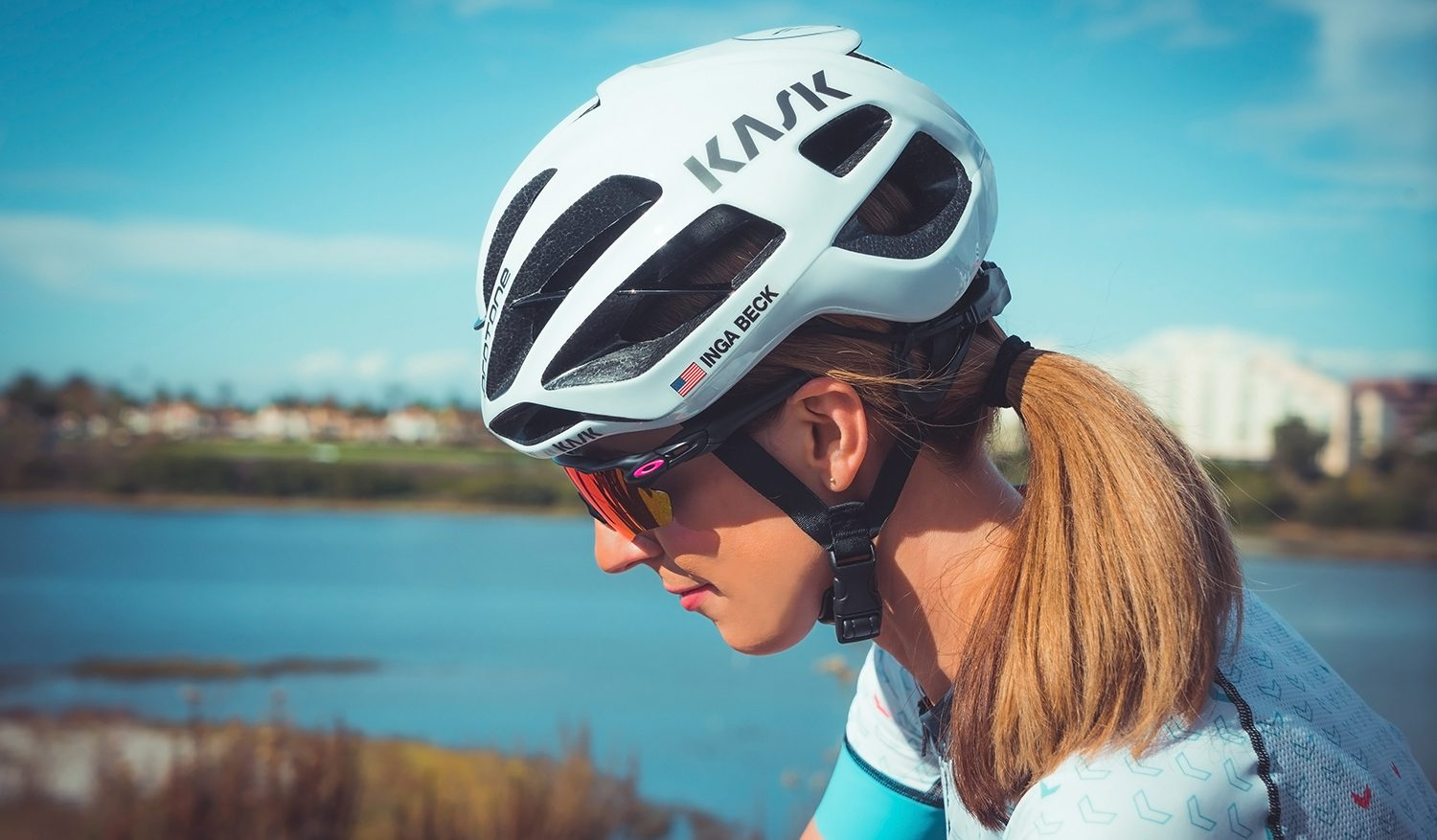 Sporting the Kask Protone with name decals
