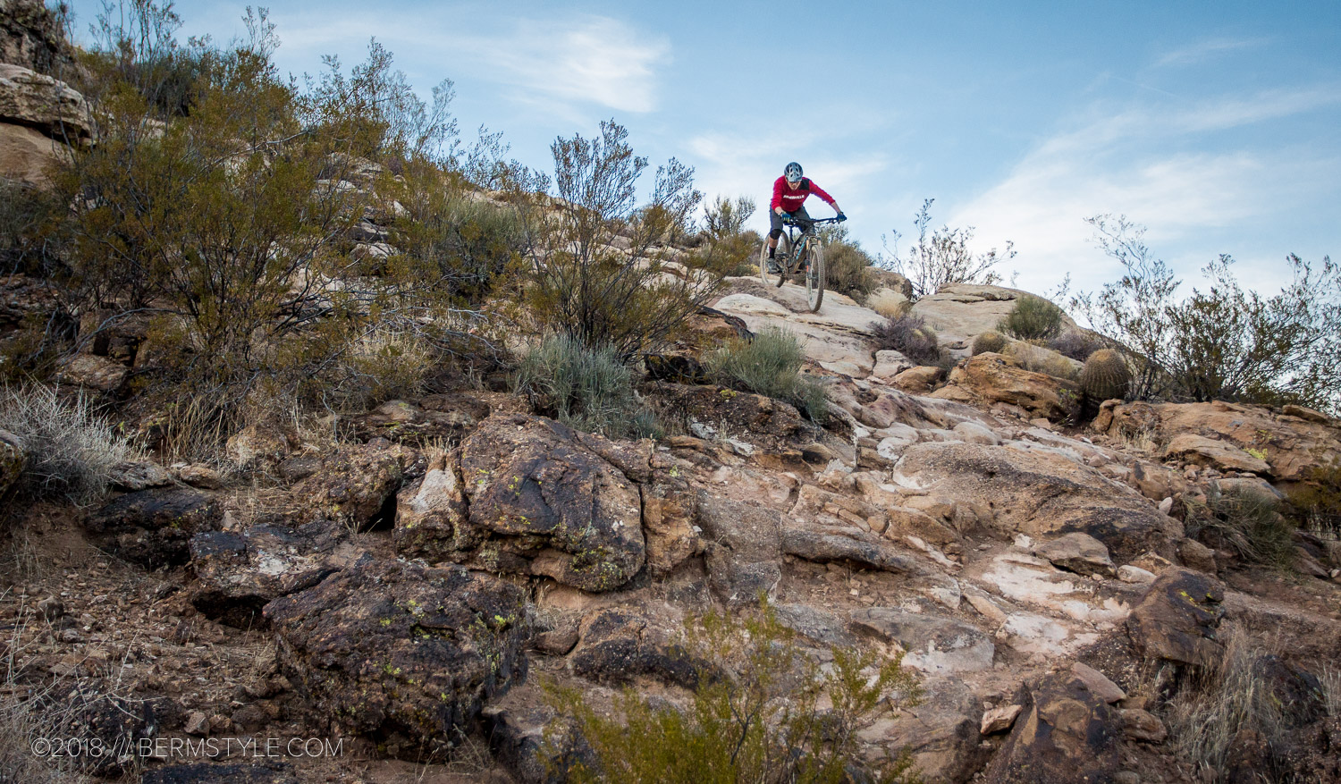"""Riding down the """"Waterfall"""" on the Barrel Trail in St. George, Utah."""